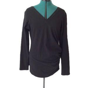 Fig Voyage Black V-neck Ruched T-Shirt, XL